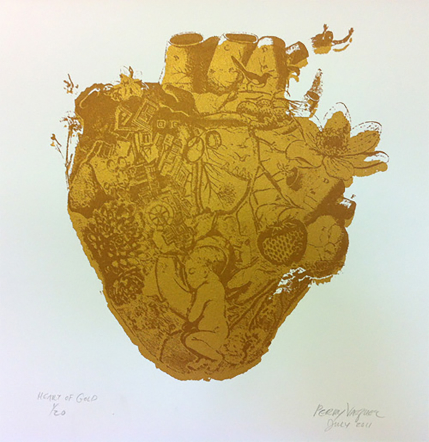 "Title: Heart of Gold  Dimensions: 12' x 12"" Medium: Silk screen print Date: 2012"