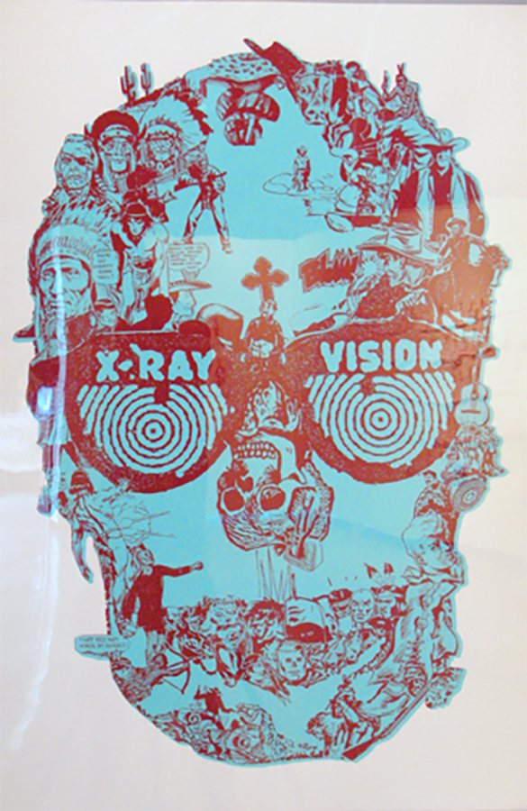 "Title: X-Ray Vision  Dimensions: 18"" x 24"" Medium: Silk screen printing Date: 2008 Notes: The first in a series of prints assembled out of images clipped from a lot of different sources, including mostly comic books but also 19th century encyclopedia's of illustration. This was an attempt to re-mix and re-interpret representations of Native Americans in mass media."