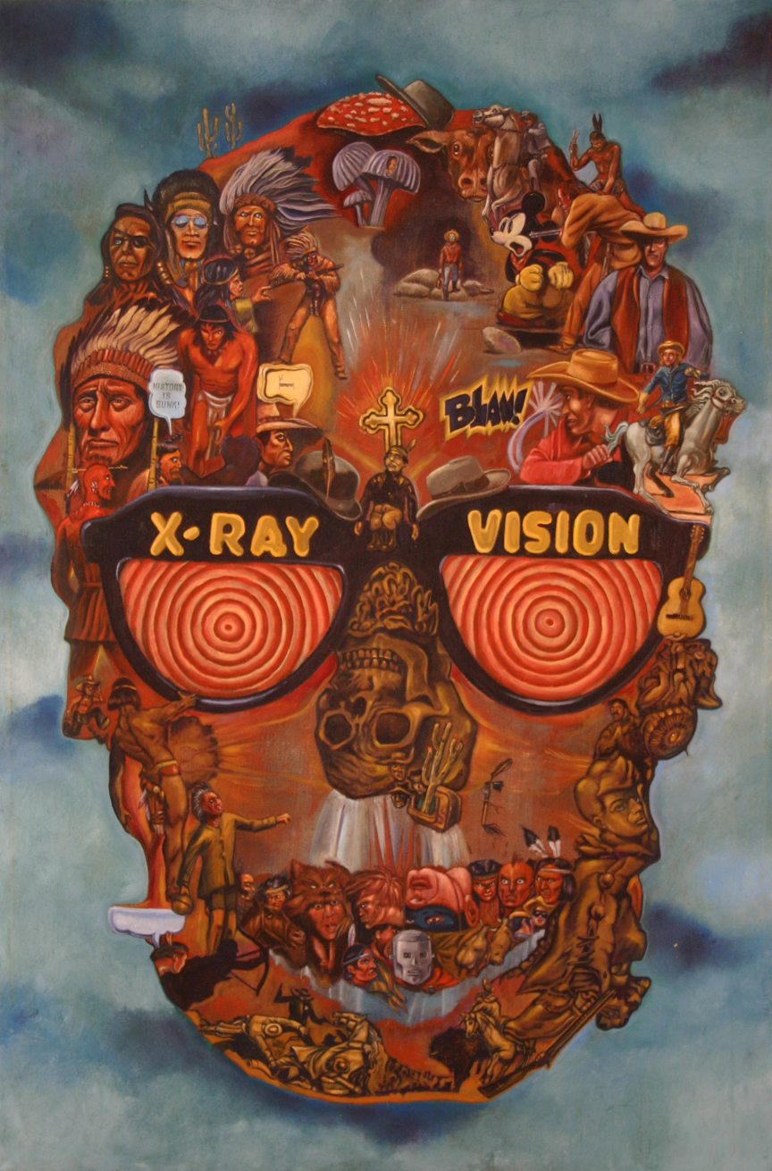 "Title: X-Ray Vision   Dimensions: 24"" x 36"" Medium: Oil on canvas Date: 2014 Notes: Like Coatlicue and Gates of Heck, X-Ray Vision continues to explore dense compositions of smaller images collected under the contours of a larger shape. In this case the theme is the American Western genre. The seed for this painting was actually planted many years ago in 2008 when my brother gave me a copy of Ward Churchill's book   Fantasies of the Master Race .  Each essay in the book performs a deft post-mortem on various media stereotypes of Native Americans."