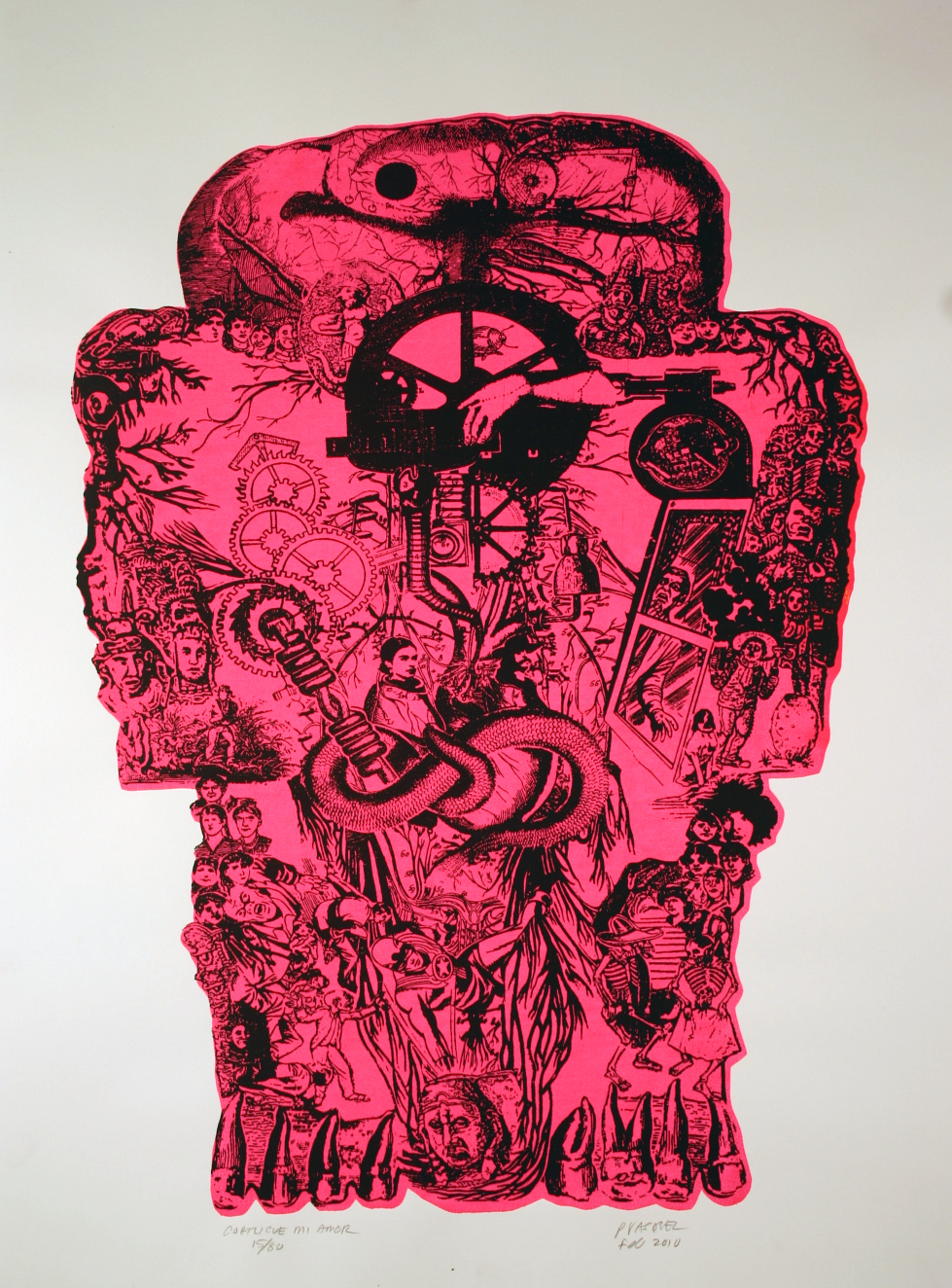 "Title: Coatlicue  Dimensions: 18"" x 24"" Medium: Silk screen printing Date: 2010 Notes:  The outer contours of the Aztec earth deity Coatlicue unify a multitude of smaller images that connect to themes of Mexican history, American hegemony, Spanish colonialism and the dichotomy between Nature and machine. The viewer is encouraged to think of national identity as an organic whole shot through with channels, veins and branches interconnecting the disparate parts."