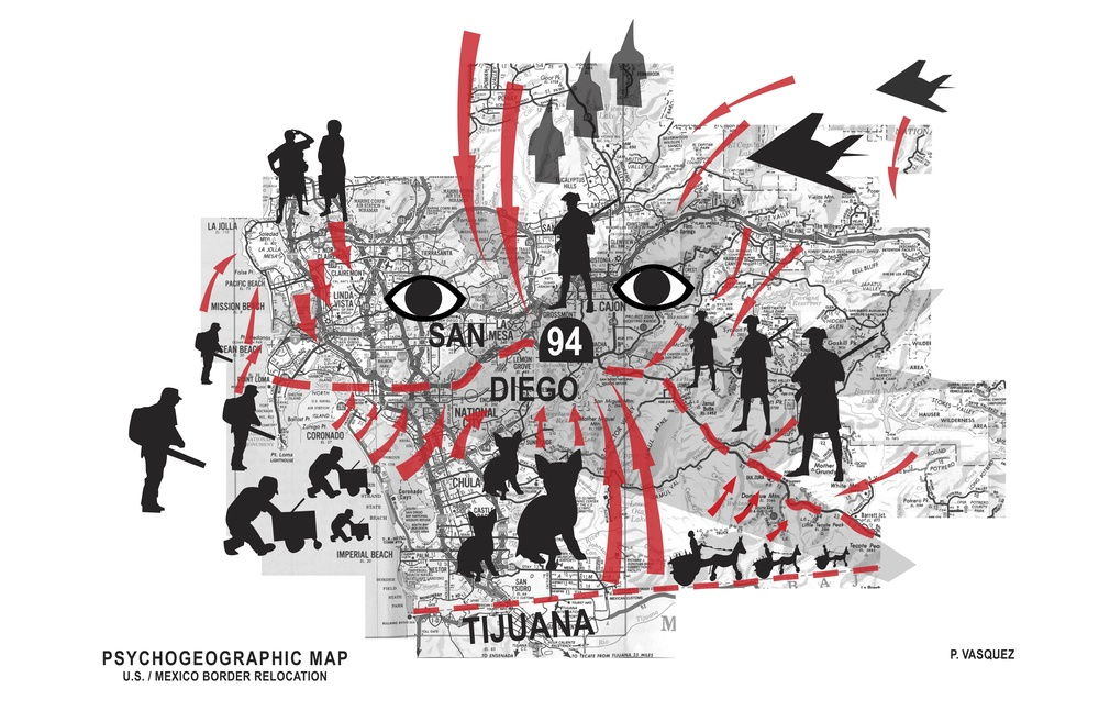 Title: Psycho-Geographic Map of the San Diego/Tijuana Border  Dimensions: Variable Medium: Digital Print Date: 2007 Notes: This map illustrates a farcical proposal to relocate the US/Mexico border several miles north to Highway 94, a landmark that divides the immigrant-heavy south San Diego county from the north. The political benefits would be to reduce the illegal immigrant population overnight by one million.