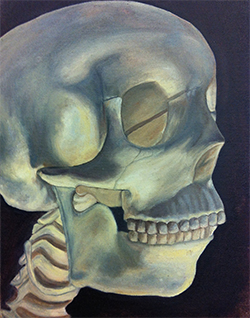 Skull painted using chiaroscuro style.