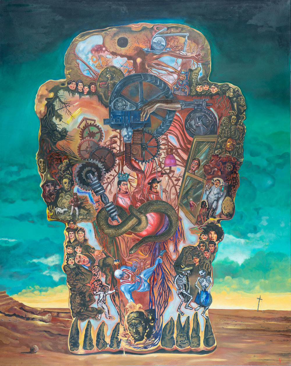 "Title: Coatlicue  Dimensions: 46"" x 54""  Medium: Oil on canvas  Date: 2010  Notes: The outer contours of the Aztec earth deity Coatlicue unify a multitude of smaller images that connect to themes of Mexican history, American hegemony, Spanish colonialism and the dichotomy between Nature and machine. The viewer is encouraged to think of national identity as an organic whole shot through with channels, veins and branches interconnecting the disparate parts."