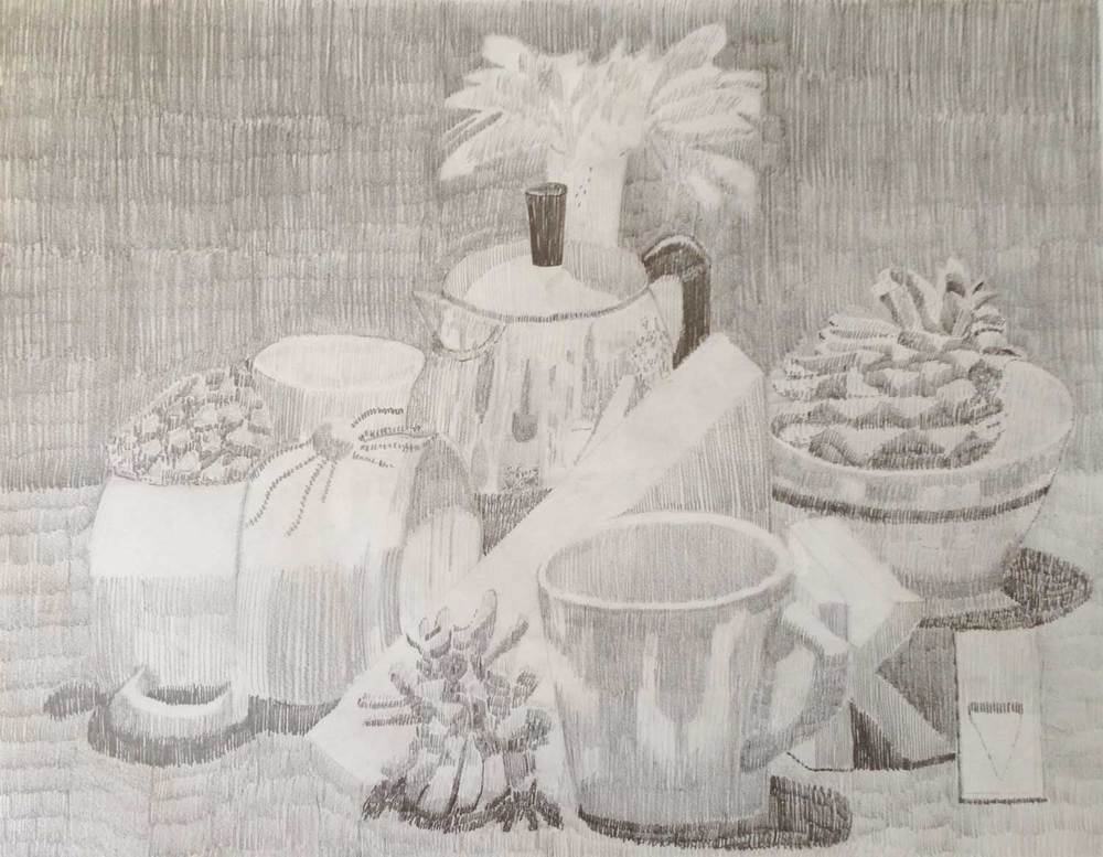 untitled still life, hatching, graphite, 2014