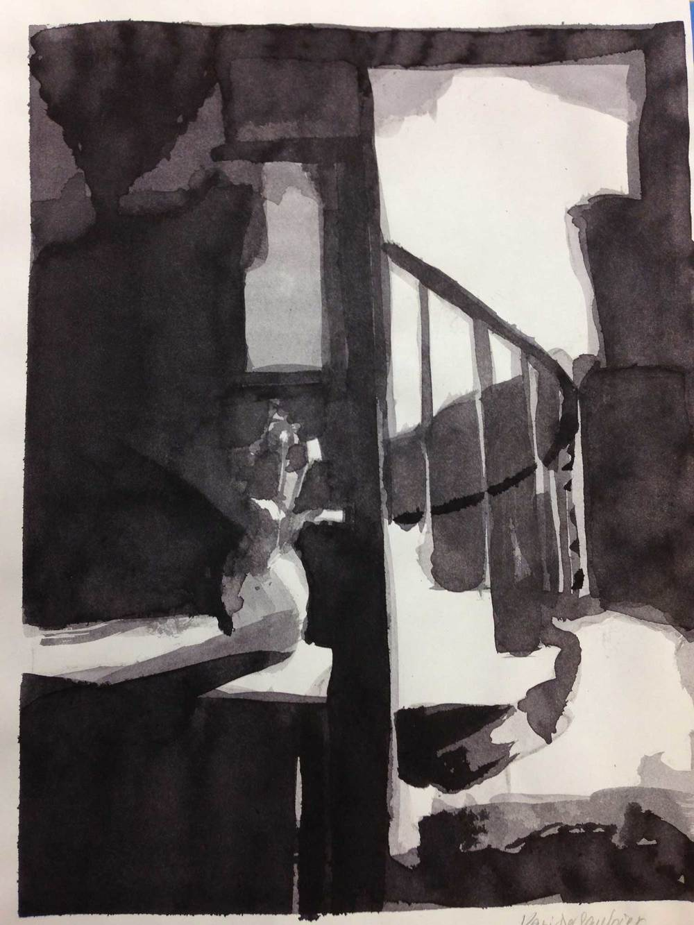 """Flowers and staircase"", ink wash, 2014"