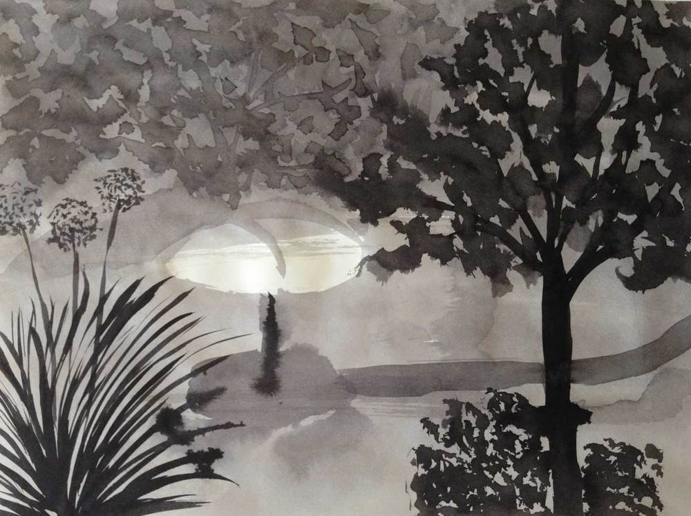 untitled landscape, ink wash, 2014