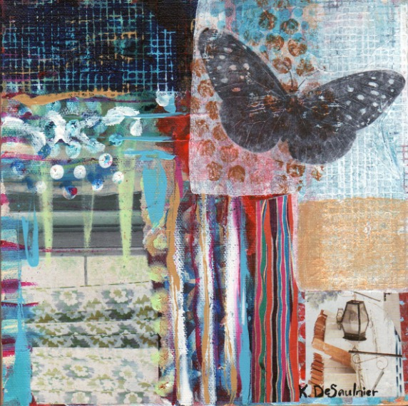 """ Chasing Butterflies "", 8x8, mixed media collage painting"