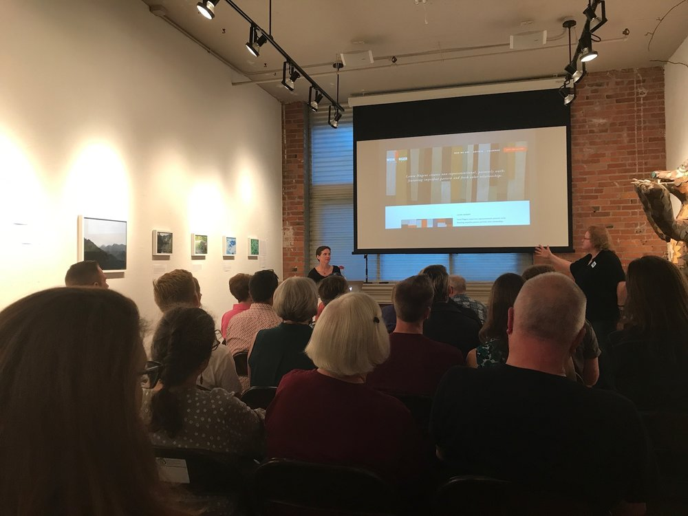 Laura presenting at Kansas City Artists Coalition, September 28, 2017