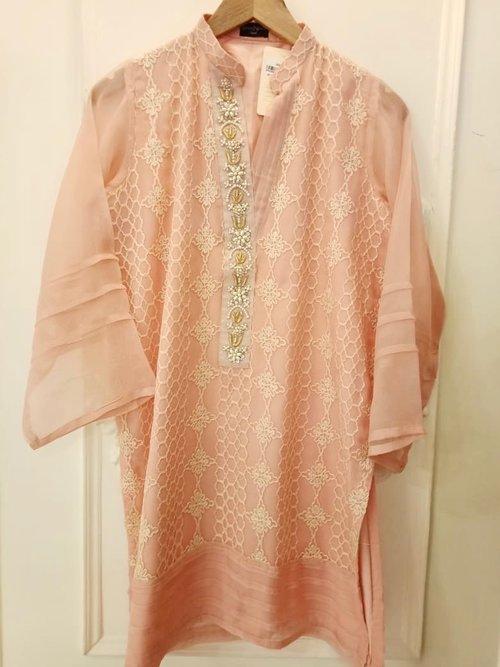 7d406ad4f7 Agha Noor Pink Peach Kurta- L — Kurta Kouture UK