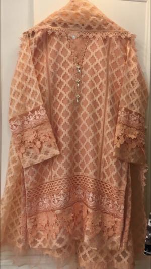 caa7348afd Agha Noor Peach Jacquard Net Outfit- S, M, L — Kurta Kouture UK