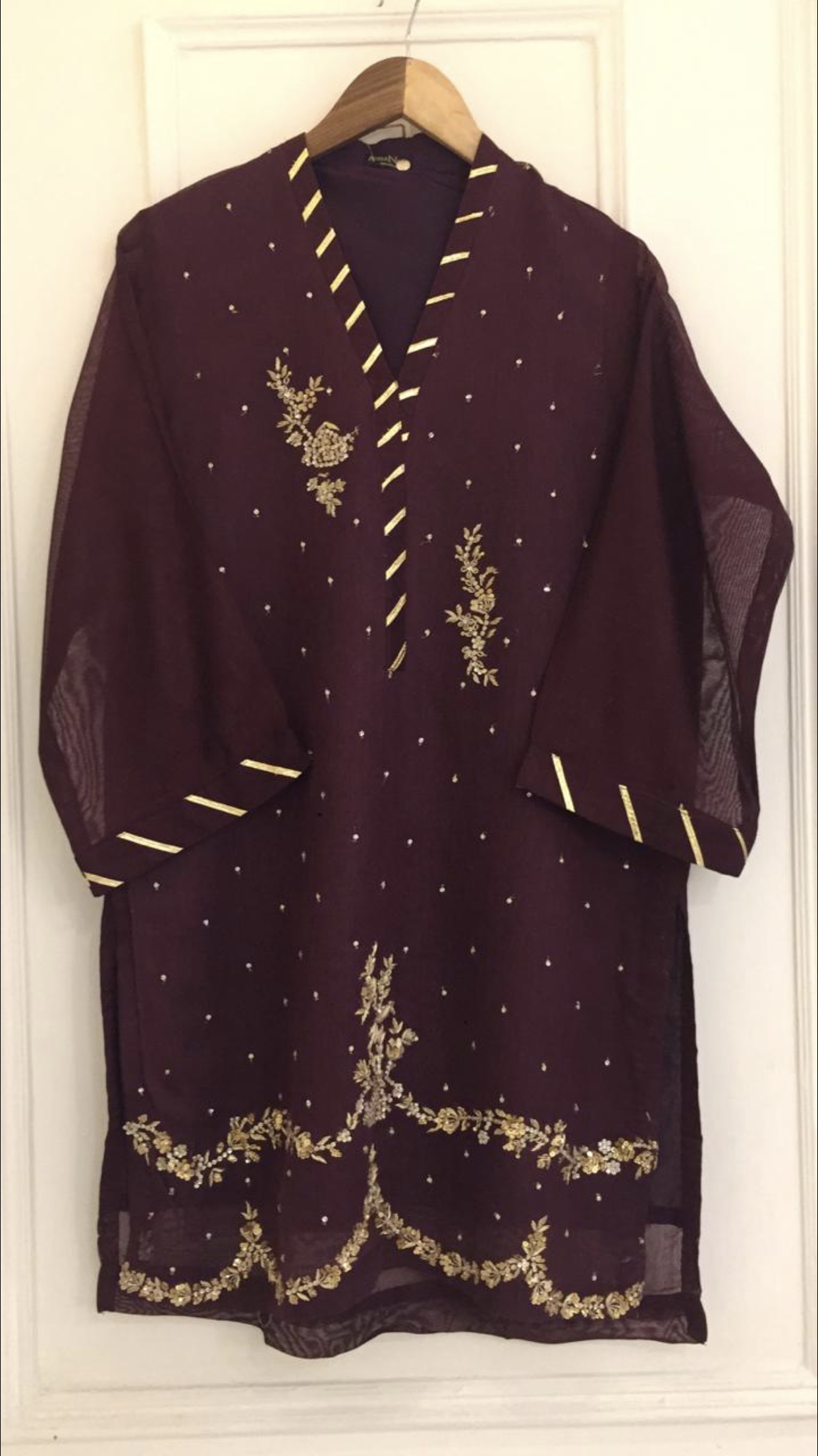 e99a8ed751 Agha Noor Purple & Gold Net Outfit- L — Kurta Kouture UK