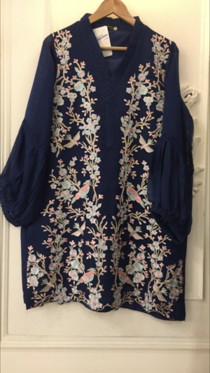 02e2b318b3 Agha Noor Blue Cotton Net Embroidered Outfit- L