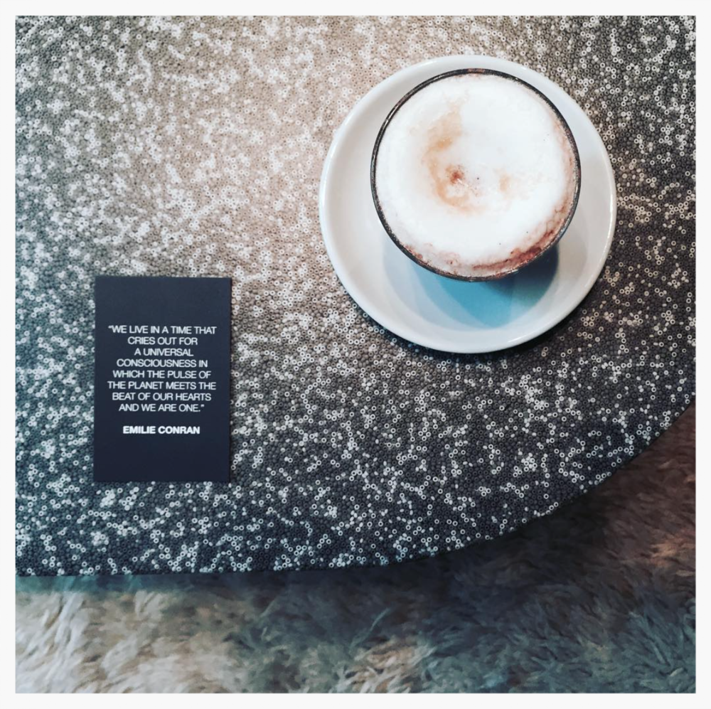 Warm, rich and foamy Bicerin coffee by soho's Bar Termini, a warm thought of the day and sustainable design. Bliss.