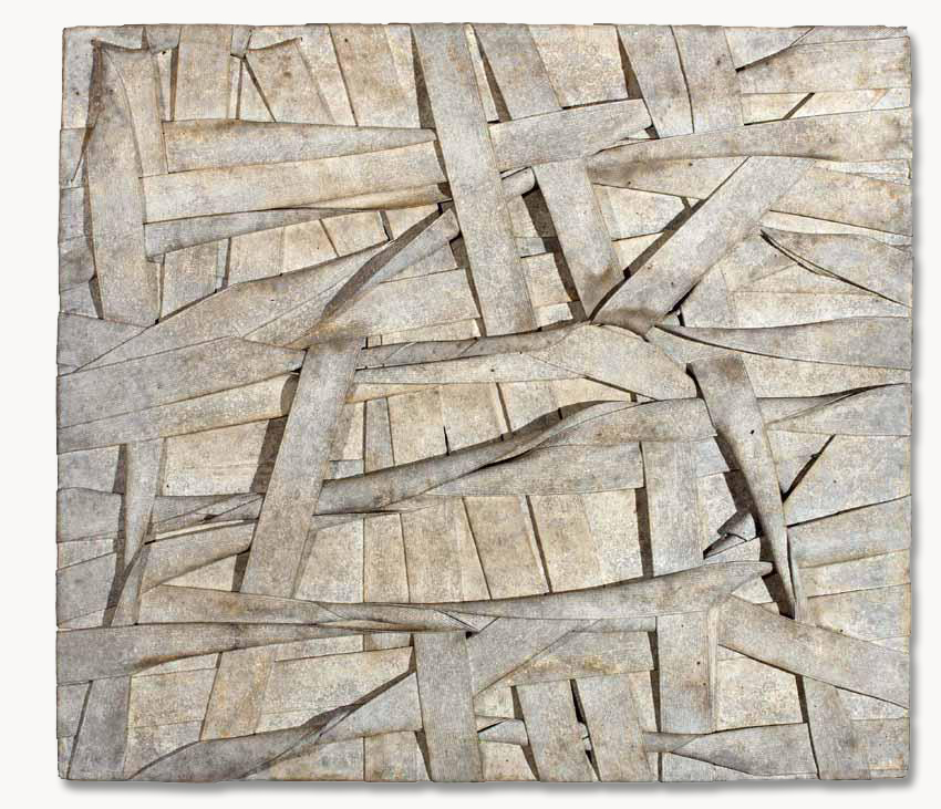 A 1958 painting by Sal Scarpitta made with bandages, the surface worked up to a rich patina.