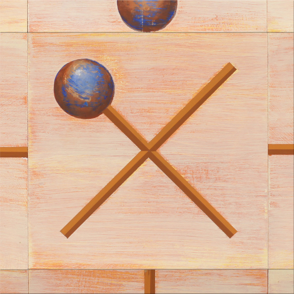 A detail shot of a recent abstract painting that sparked various associations, including the traditional orb and cross symbol.