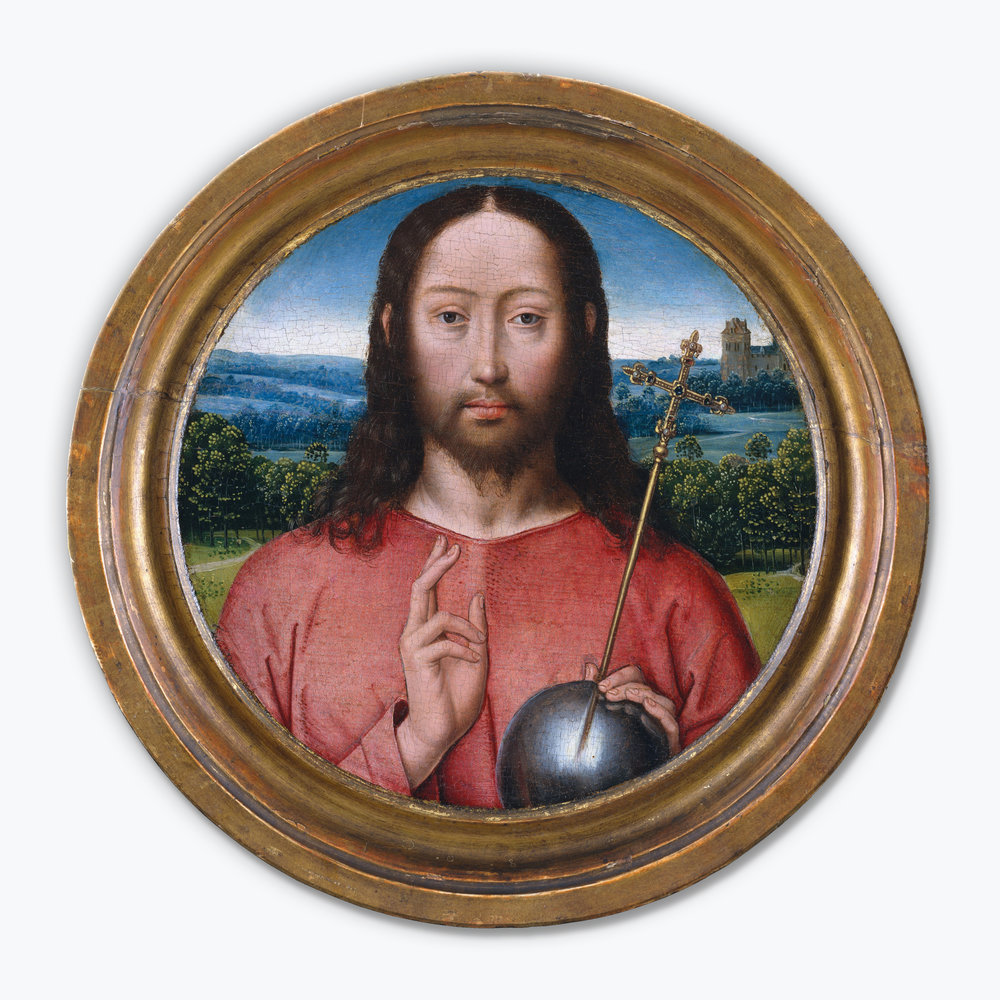 "Hans Memling's ""Salvator Mundi"" (circa 1480) features an orb and cross."