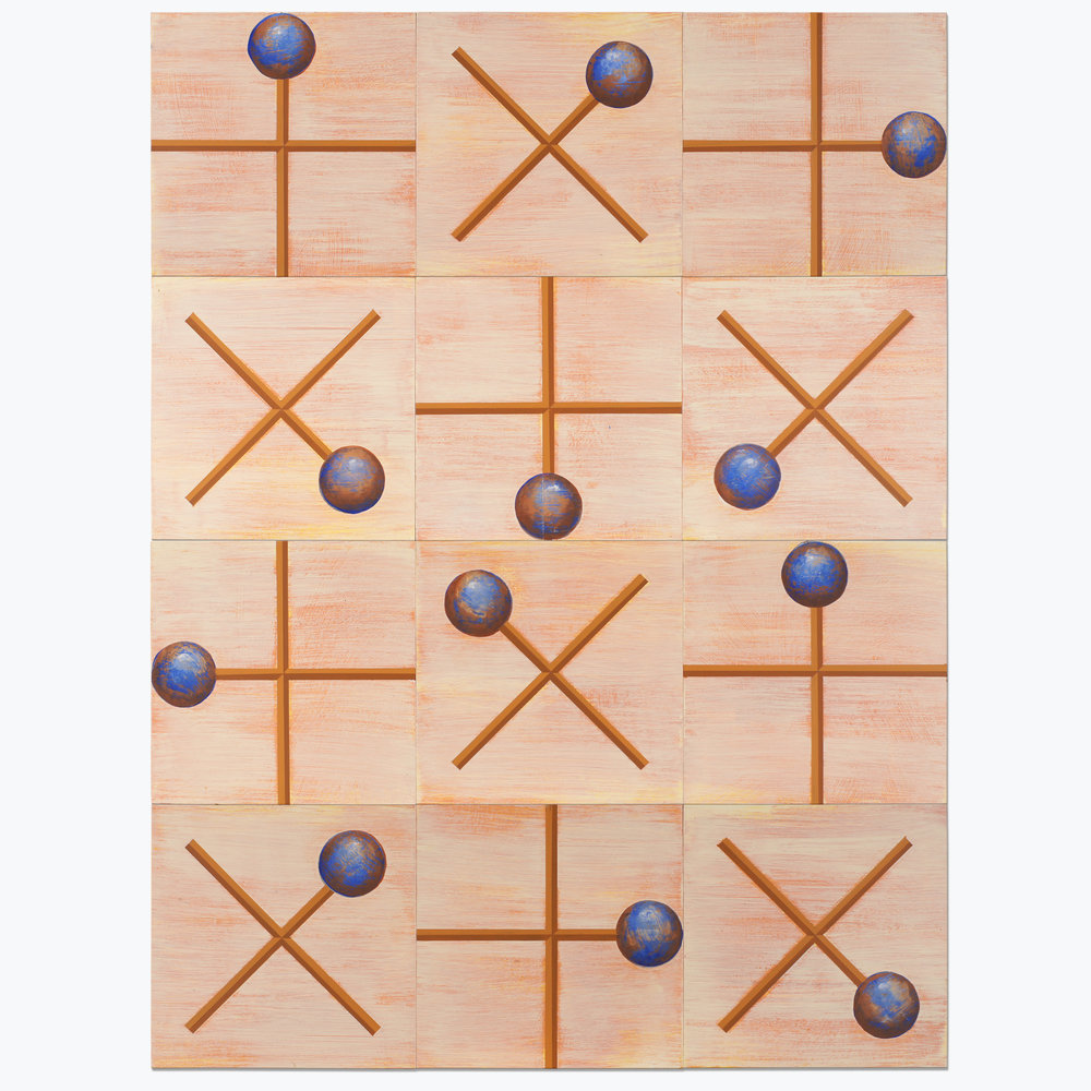 Orb and Cross, Acrylic on 12 panels, 48 by 36 inches overall, 2017
