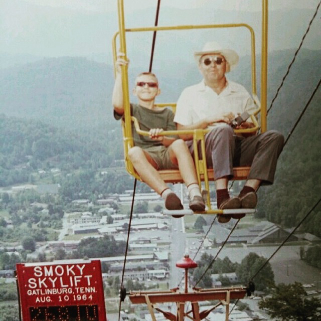 Son Norman and filmmaker, Leonard, 1964, holding his beloved Revere 8mm movie camera, Gatlinburg, TN.