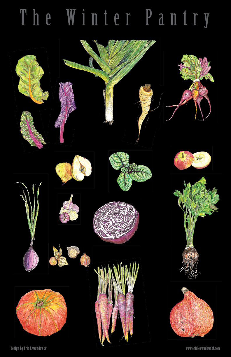This poster is a beautiful snapshot of my winter pantry, which is filled by produce from local farmers markets.                                                      Art by  Eric Lewandowski
