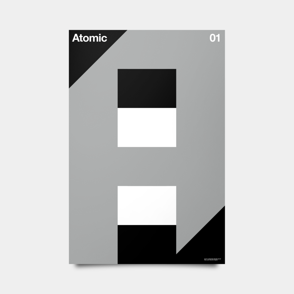 "A—Atomic Alphabet Studies Black/Silver/White 20"" by 30"""