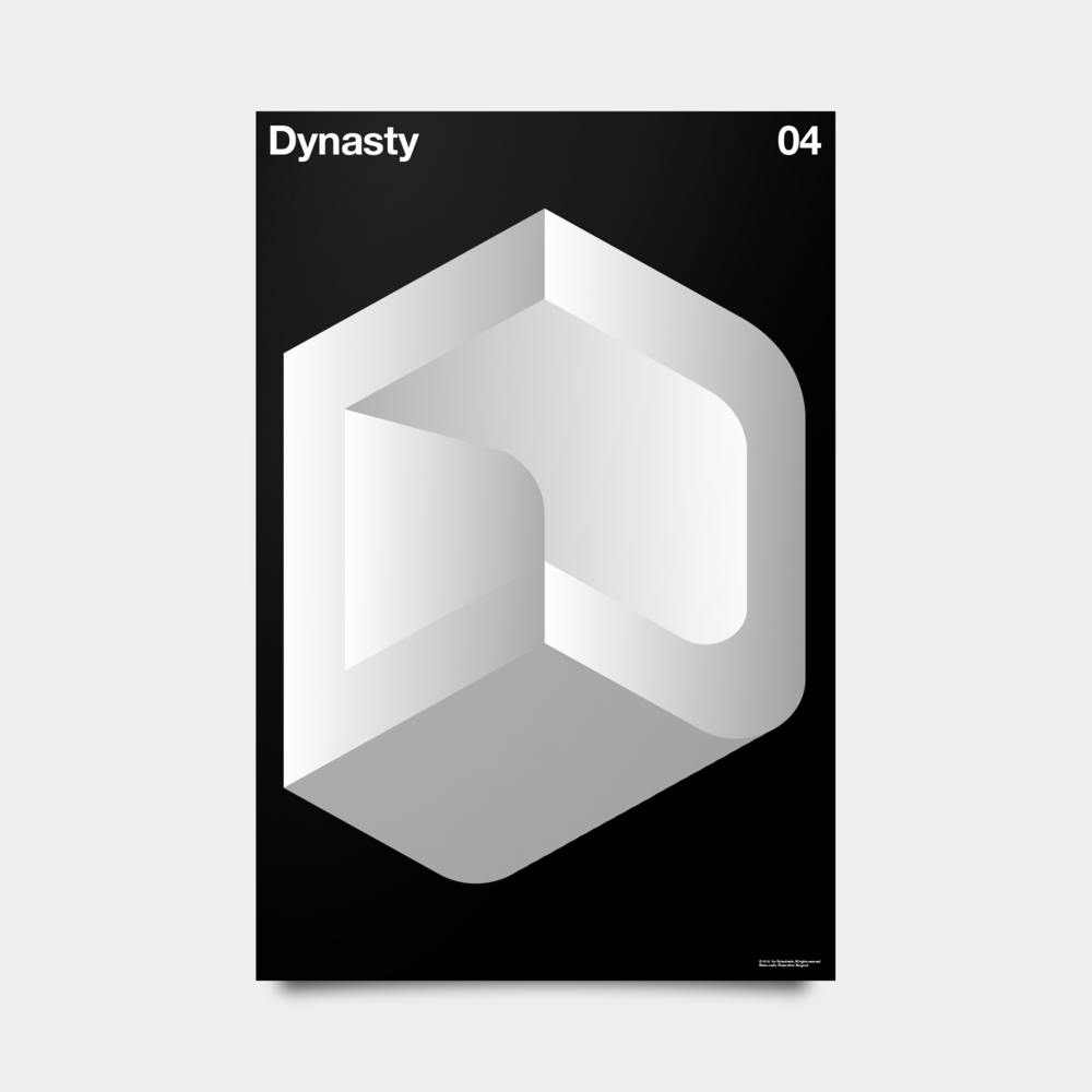 "D—Dynasty Alphabet Studies Black/Silver/White 20"" by 30"""