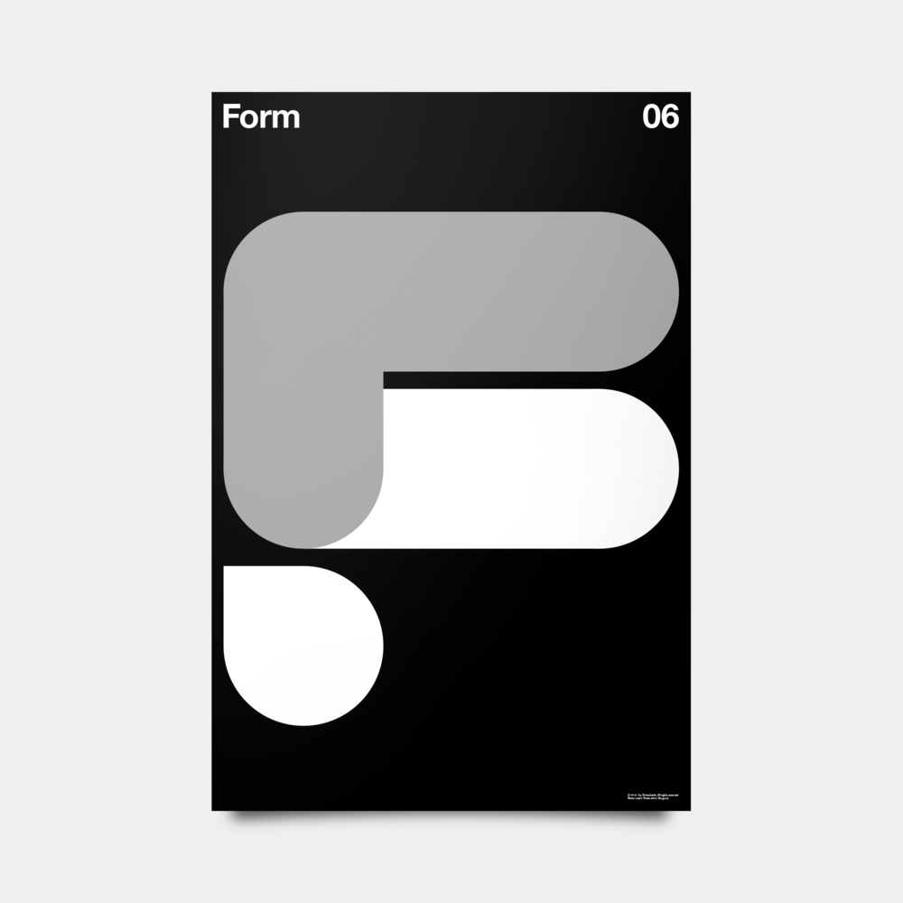 "F—Form Alphabet Studies Black/Silver/White 20"" by 30"""