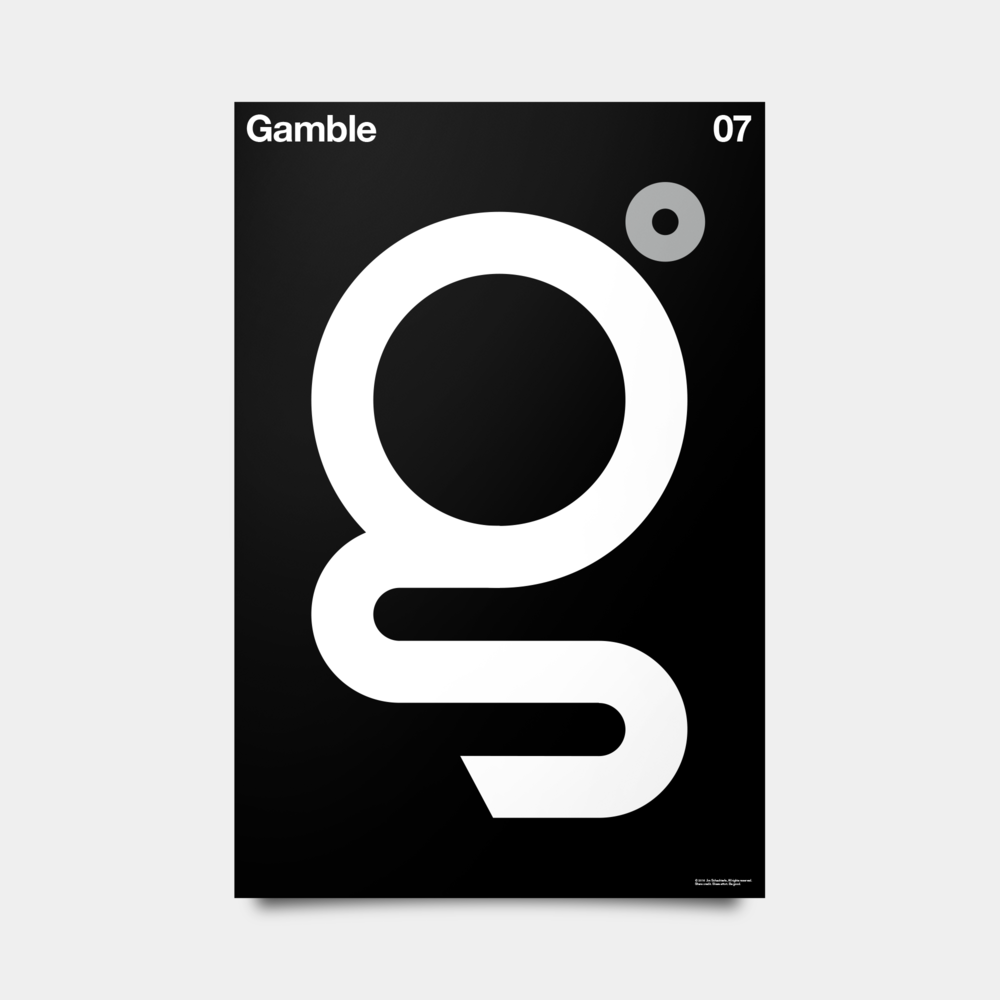 "G—Gamble Alphabet Studies Black/Silver/White 20"" by 30"""