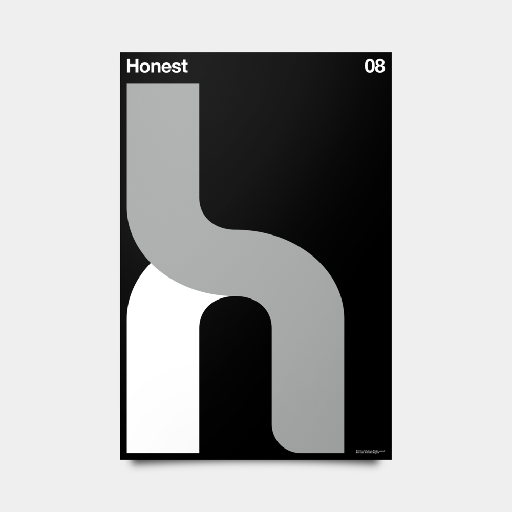 "H—Honest Alphabet Studies Black/Silver/White 20"" by 30"""