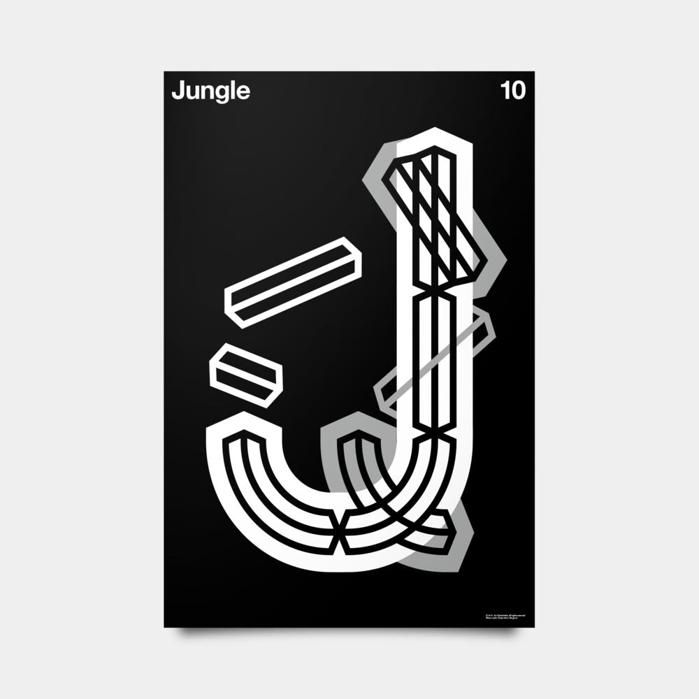 "J—Jungle Alphabet Studies Black/Silver/White 20"" by 30"""