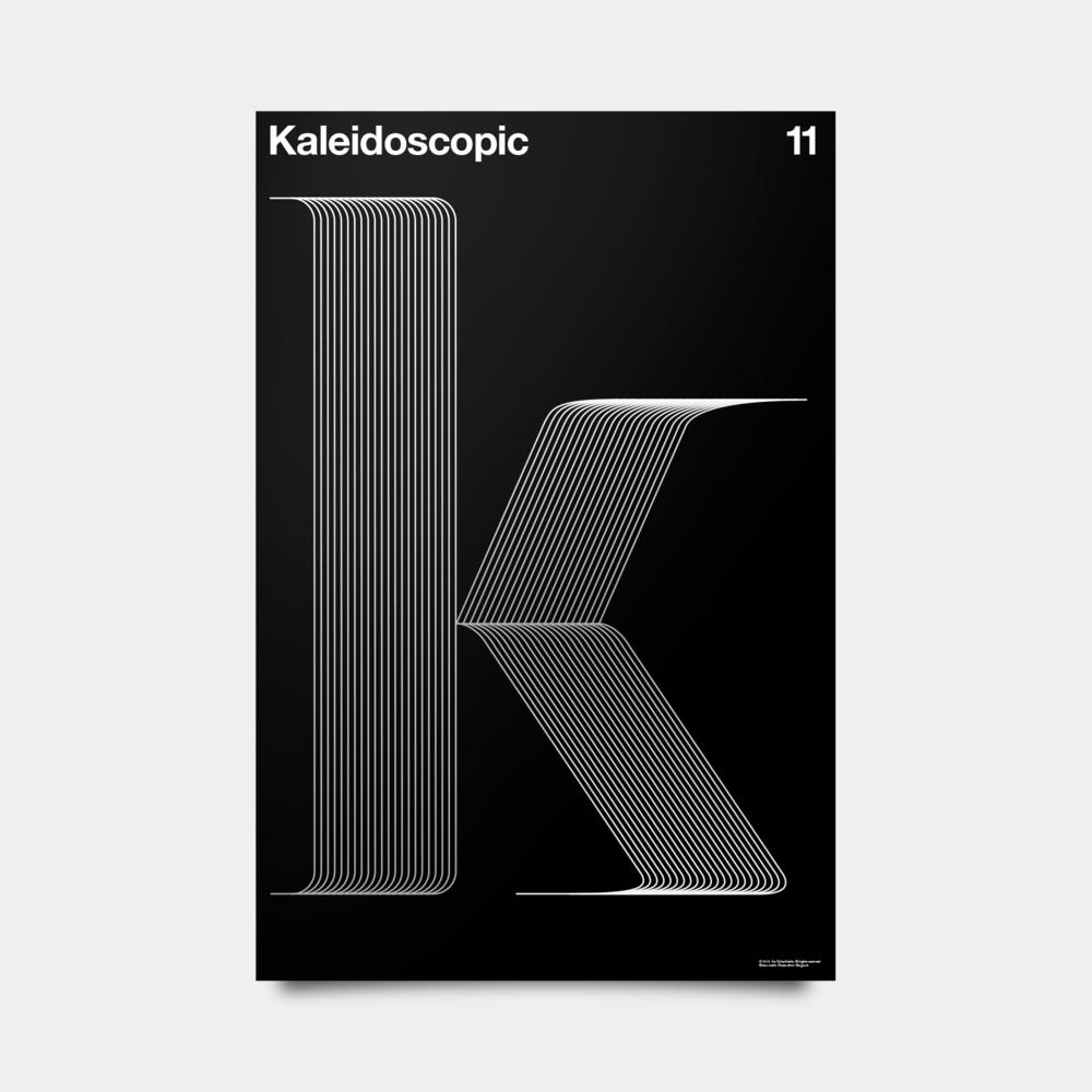"""K—Kaleidoscopic Alphabet Studies Black/Silver/White 20"""" by 30"""