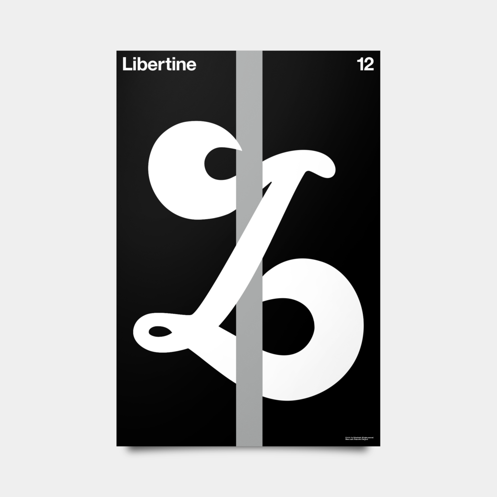 "L—Libertine Alphabet Studies Black/Silver/White 20"" by 30"""