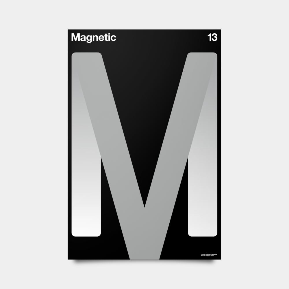 "M—Magnetic Alphabet Studies Black/Silver/White 20"" by 30"""