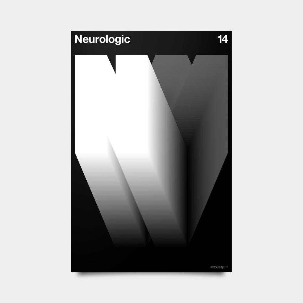 "N—Neurologic Alphabet Studies Black/Silver/White 20"" by 30"""