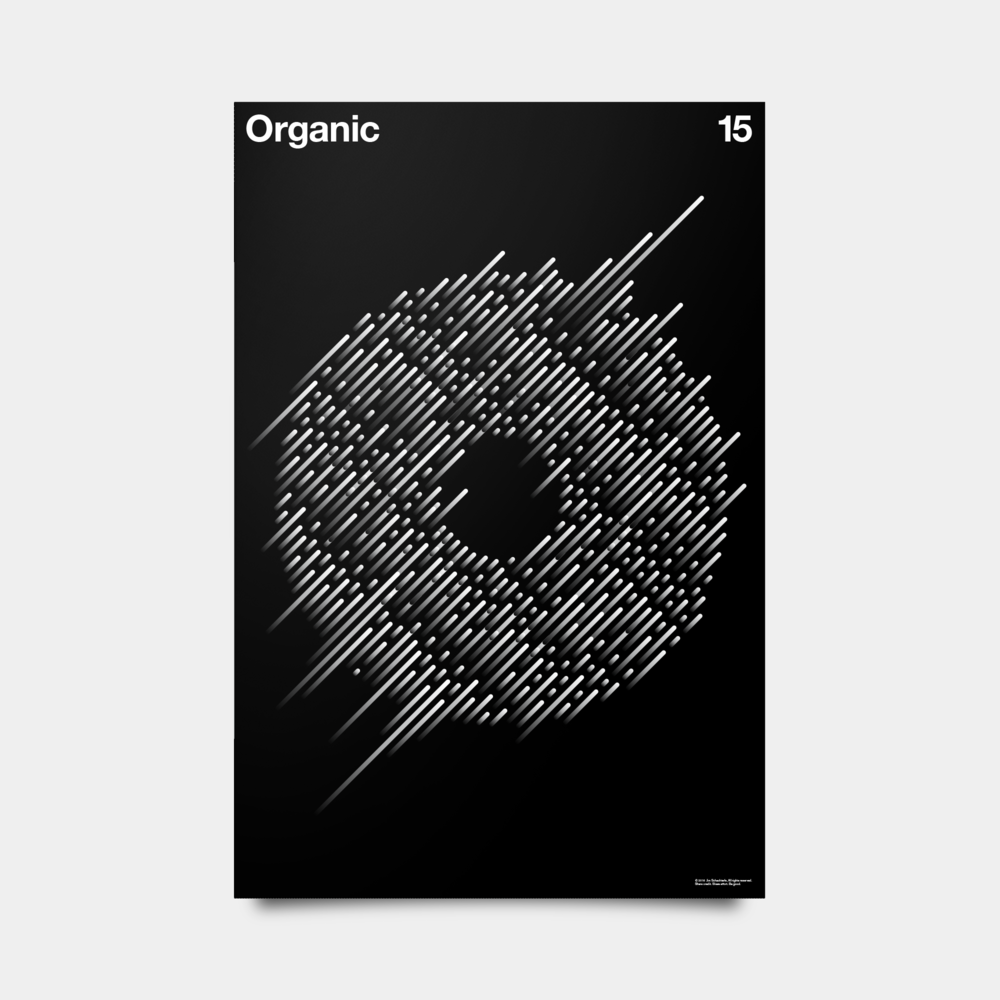 "O—Organic Alphabet Studies Black/Silver/White 20"" by 30"""