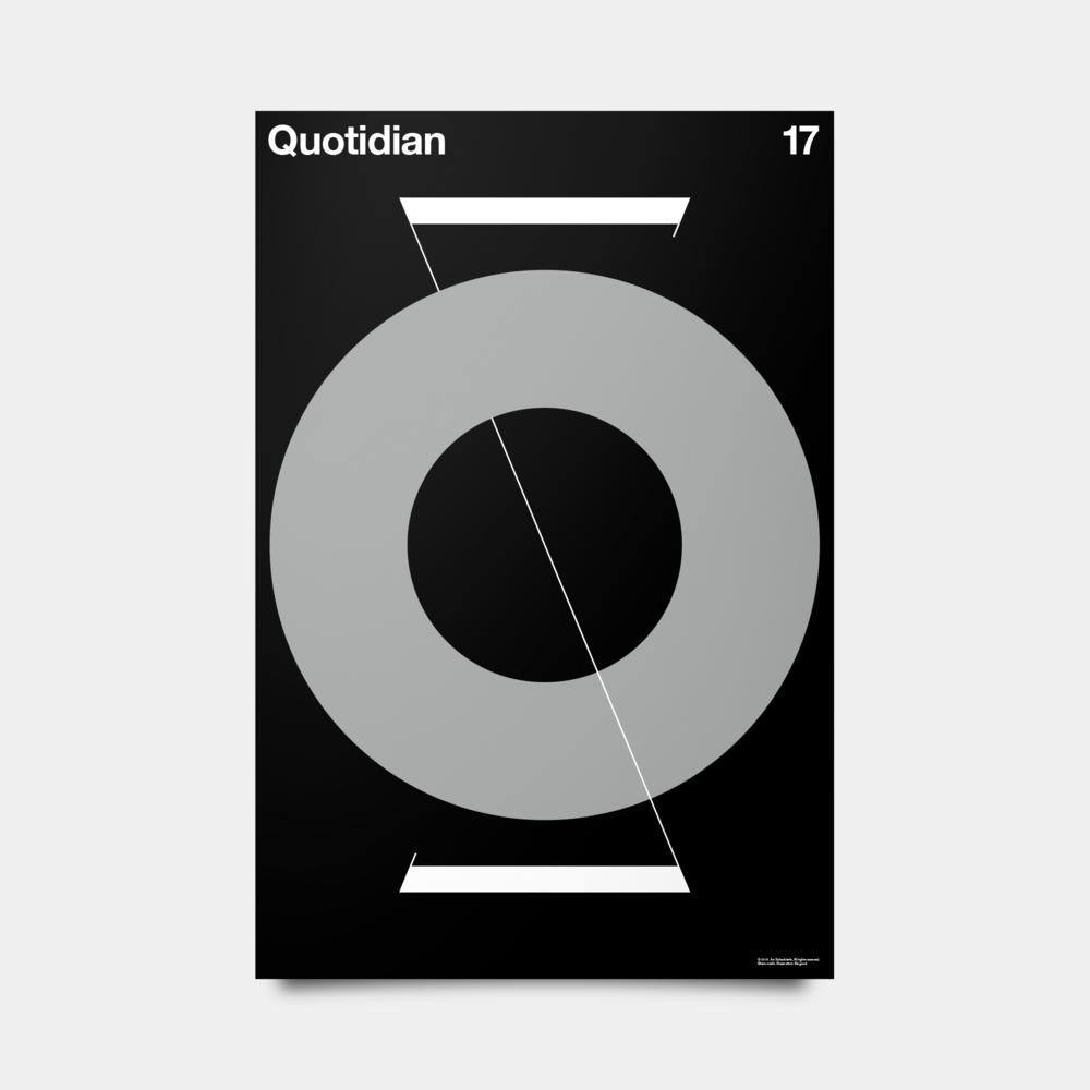 """Q—Quotidian Alphabet Studies Black/Silver/White 20"""" by 30"""