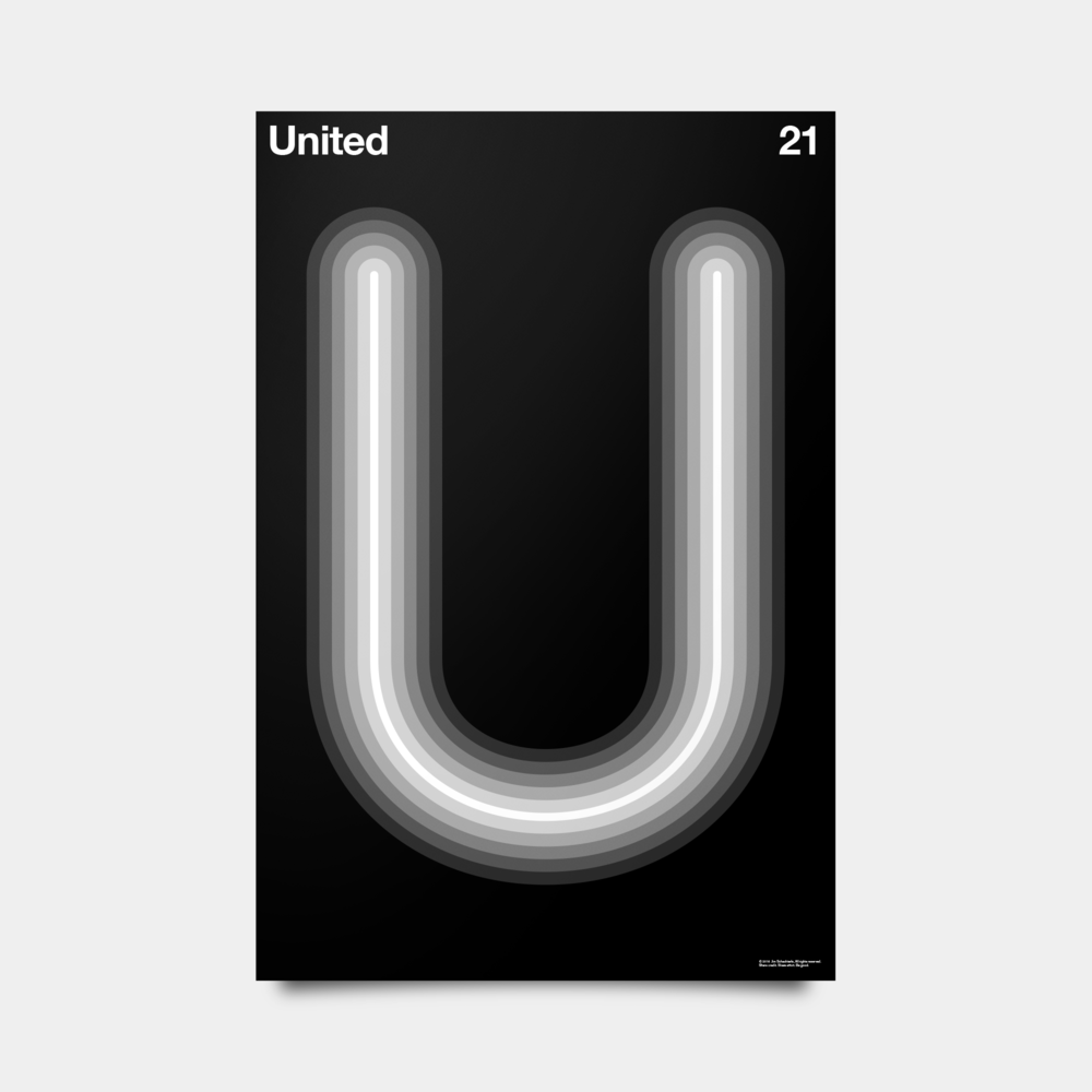 "U—United Alphabet Studies Black/Silver/White 20"" by 30"""