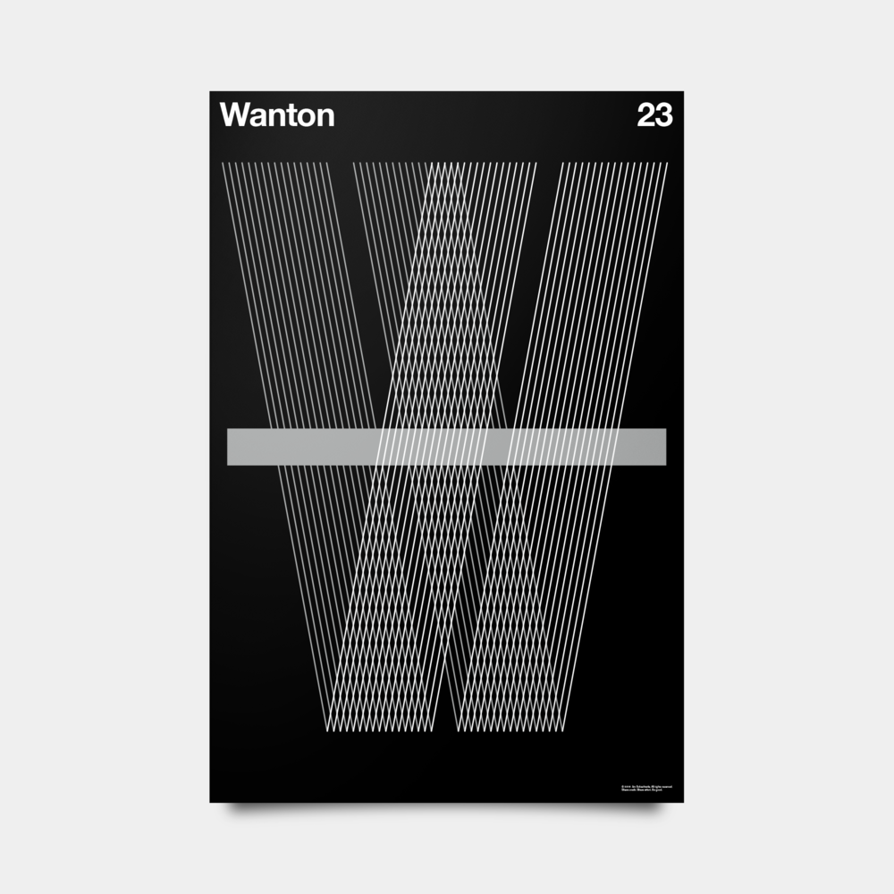 "W—Wanton Alphabet Studies Black/Silver/White 20"" by 30"