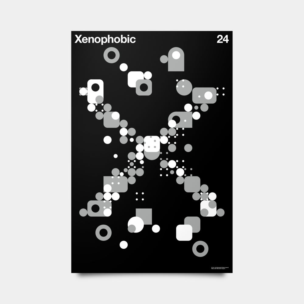 "X—Xenophobic Alphabet Studies Black/Silver/White 20"" by 30"""