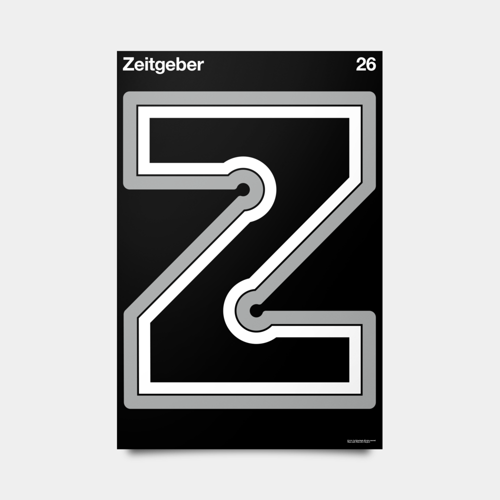 "Z—Zeitgeber Alphabet Studies Black/Silver/White 20"" by 30"""