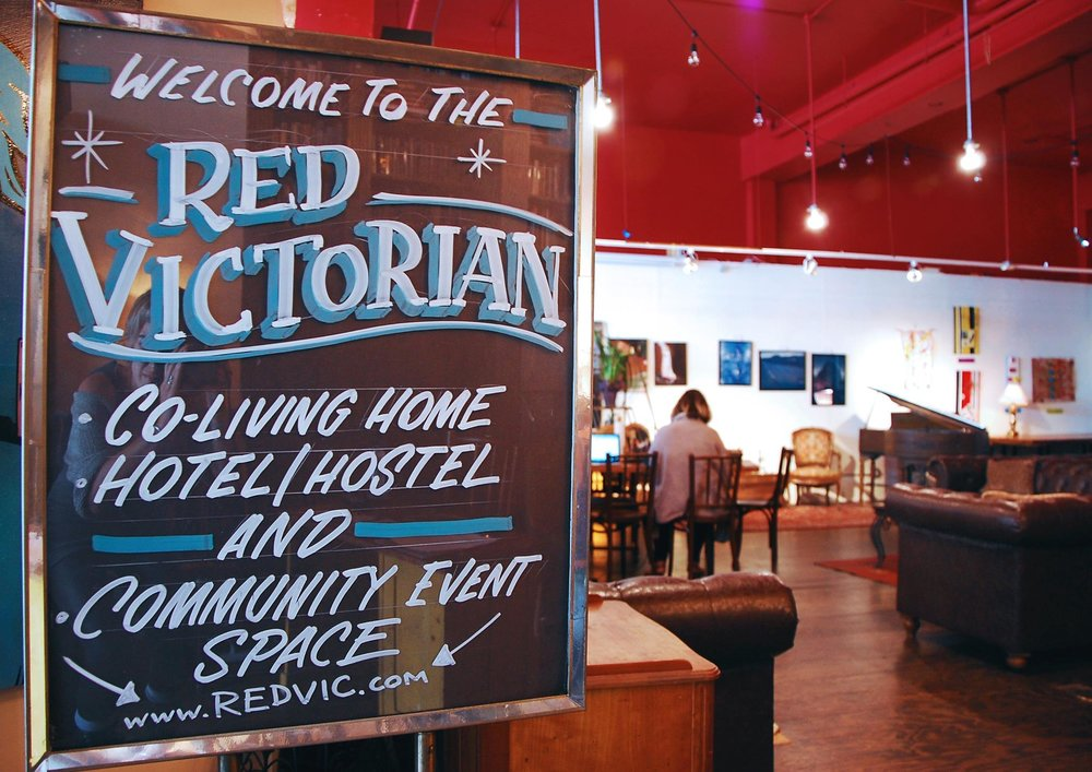 The Red Vic - A 20 bedroom historic building converted into a co-living hotel, and community curated space.Re-opened in fall 2014 as part of the Embassy Network, The Red Vic is a community resource for locals as well as an inspiring, radical, and collaborative home away from home for people from all over the world.