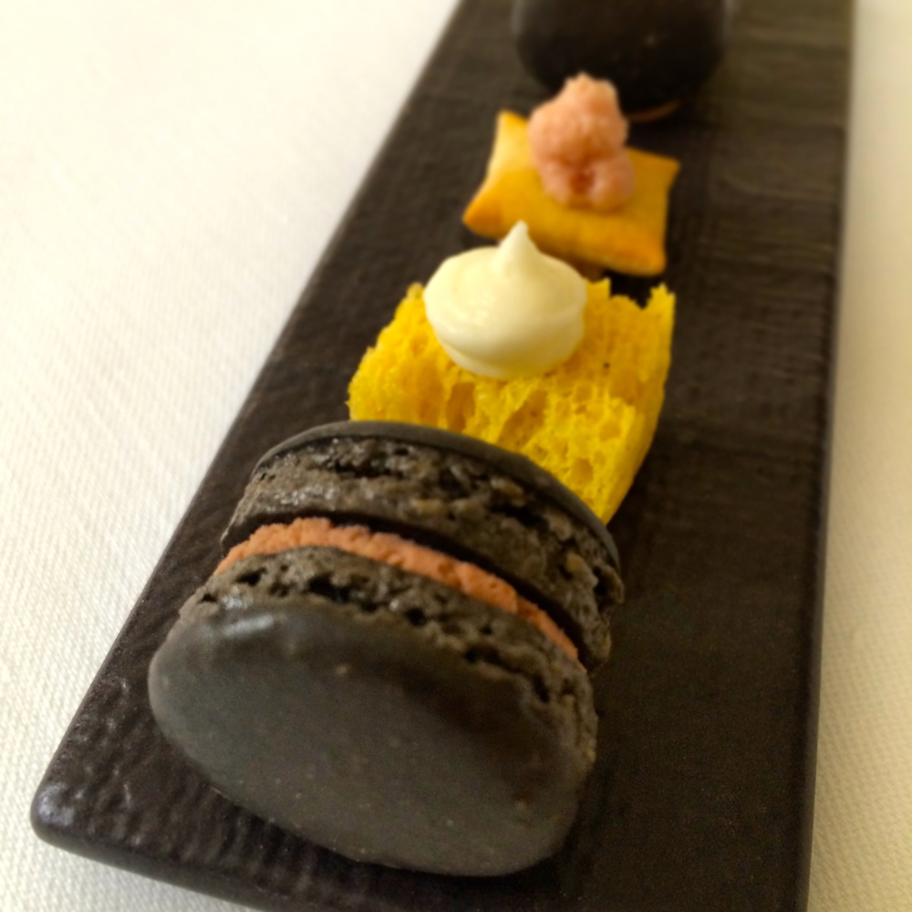 Truffle macaron w/ chicken liver; bleu cheese mousse; mortadella cracker