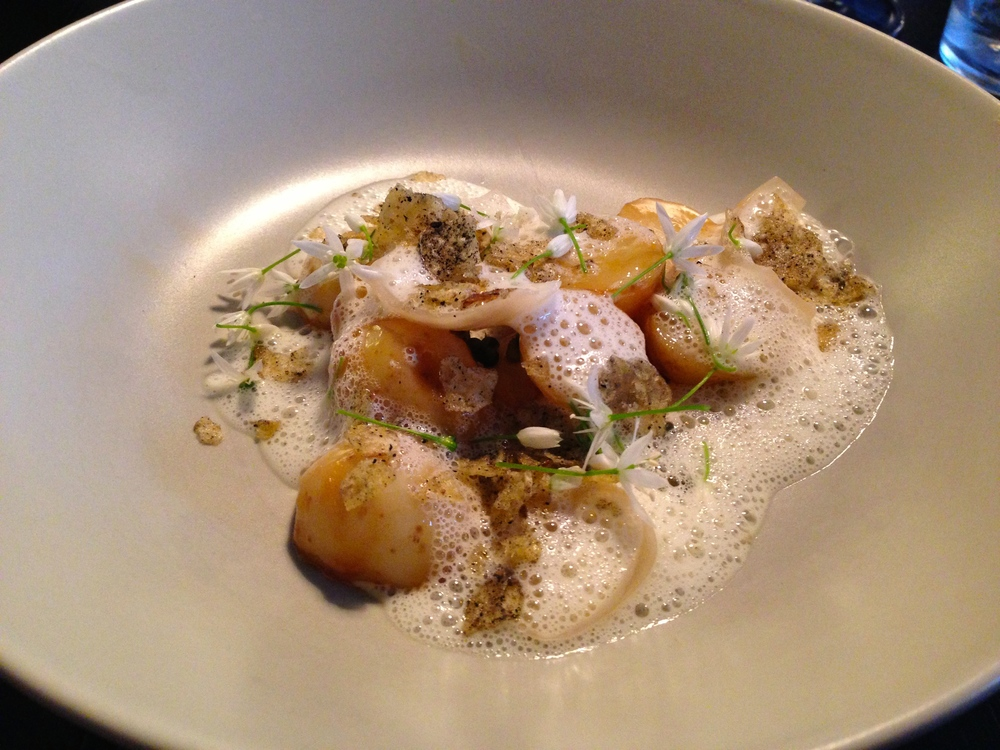 Scallops with sea foam
