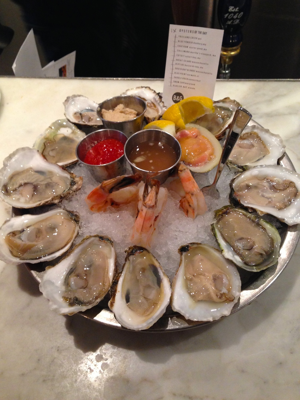 Oysters, Shrimp, and Clams at B&G Oysters, Boston