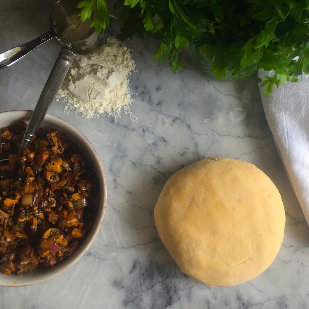 Mushroom filling and Coxinha dough
