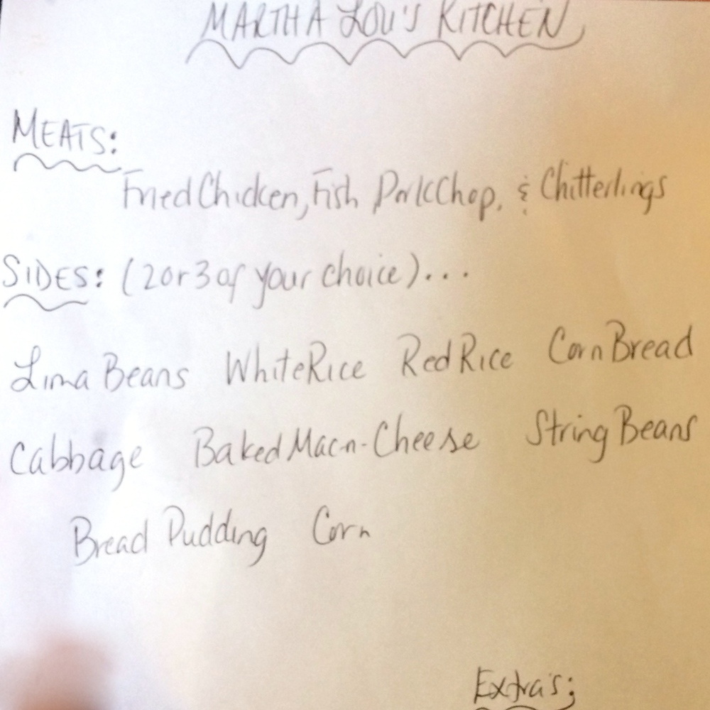 Handwritten menu @ Martha Lou's Kitchen