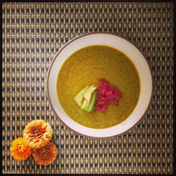Get back on track.. Soup.  Same veggie soup as last week- add curry powder and Indian spices for body warming effect:)