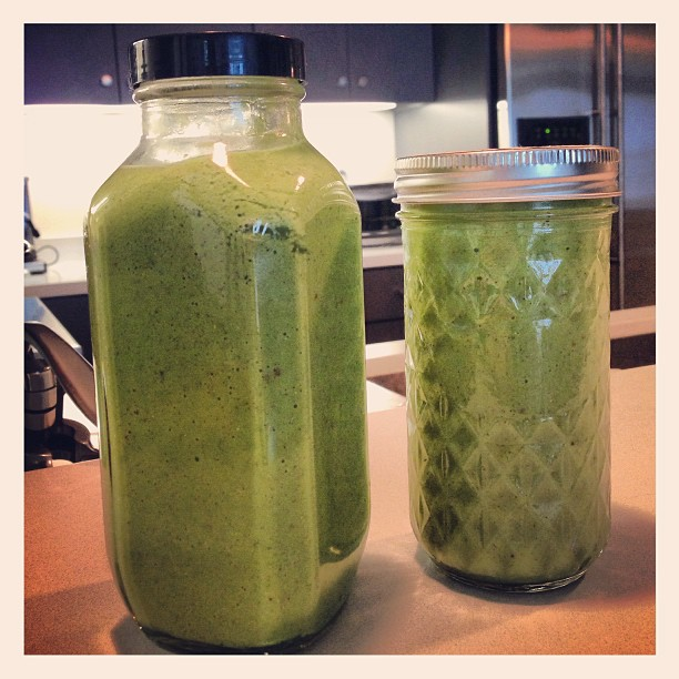 2 homemade smoothies and I'm set for the day! After bfast/lunch.. of course.  All the goodness you could ask for- kale, spinach, avocado, cucumber, banana, apple, hemp seed, chia seed, water.