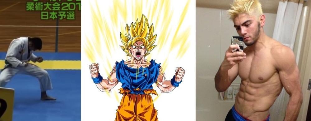 Roberto Toshi powering up before a match, much like Goku as a Super Saiyan