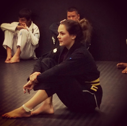 VHTS Ninja Savannah Alonso paying close atention during BJJ class
