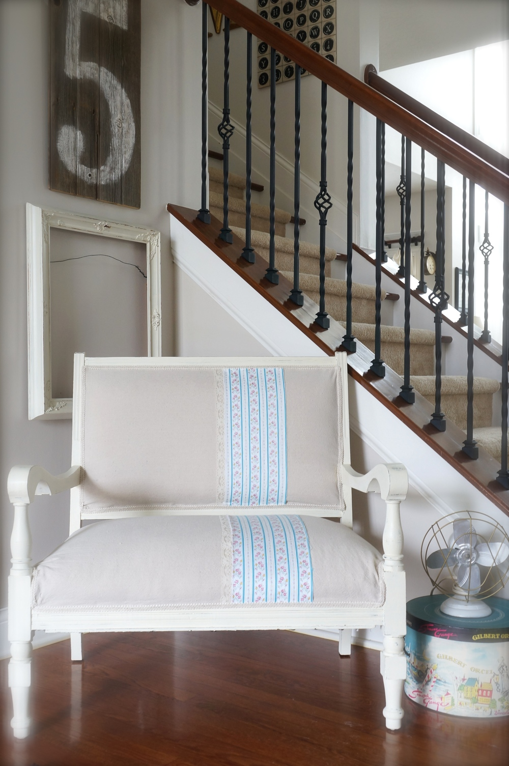 Completed Vintage Settee Makeover
